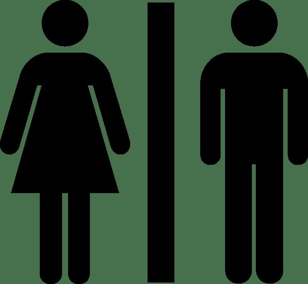 Unisex toilet signage.